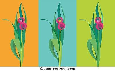 kaarten, set, groet, bloem