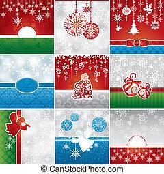 kaarten, set, kerstmis