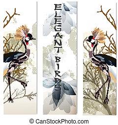 kaarten, set, vogels, zakelijk