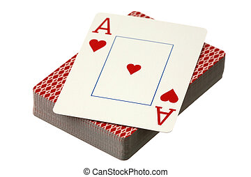 kaarten, -, spelend, aas