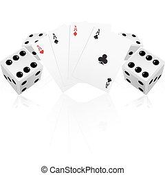 kaarten, spelend, dobbelstenen