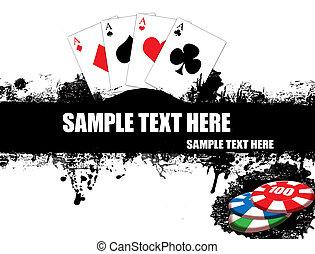 kaarten, spelend, poster