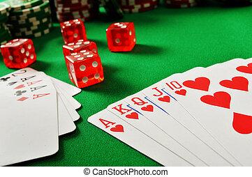 kaarten, tafel, groene, spelend, samenstelling