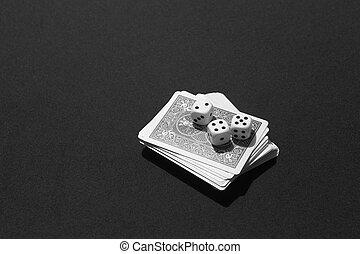 kaarten, tafel, pook, spel, craps