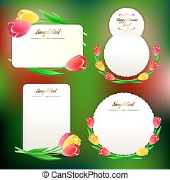 kaarten, tulpen, set, groet, lente