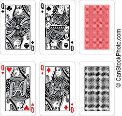 kaarten, vector, spelend
