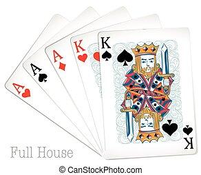 kaarten, woning, pook, volle