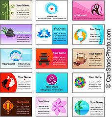 kaarten, zen, yoga, verzameling, zakelijk