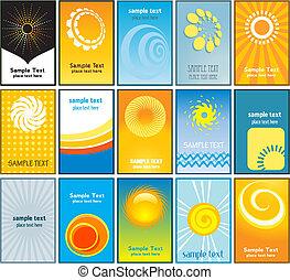 kaarten, zomer, zakelijk, themed