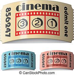 kaartjes, bioscoop, vector, 3d, glanzend, gekrulde