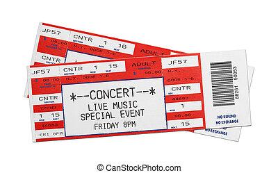 kaartjes, concert, rood