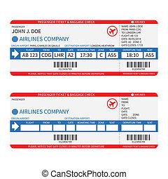 kaartjes, passagier, barcode., ), (, bagage, vector,...