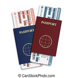 kaartjes, passagier, ), (, streepjescode, bagage, vector, luchtroute, aanplakbord passeren, internationaal, passport.