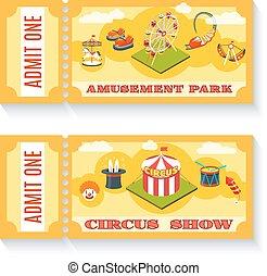 kaartjes, set, ouderwetse , park, twee, vermaak
