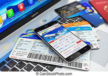 kaartjes, smartphone, lucht, via, online, aankoop