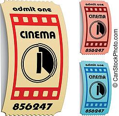 kaartjes, vector, bioscoop, 3d, gekrulde