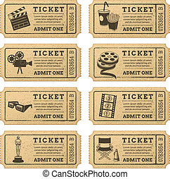 kaartjes, vector, grunge, bioscoop