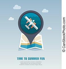 kaartspeld, vakantie, hydroplane, summer., icon.