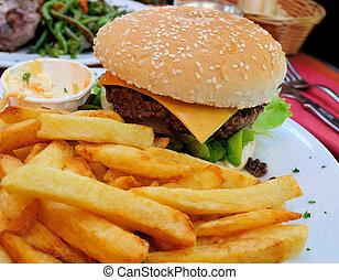 kaas burger, -, amerikaan, kaas burger, met, fris, slaatje