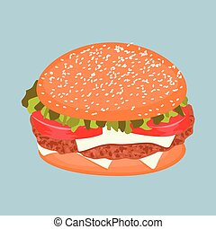 kaas, classieke, vlees, hamburger, tomaat, sla