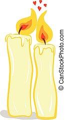 kaas, de kleur van de liefde, yellow-colored, twee, samen, vector, illustratie, holdingshanden, of