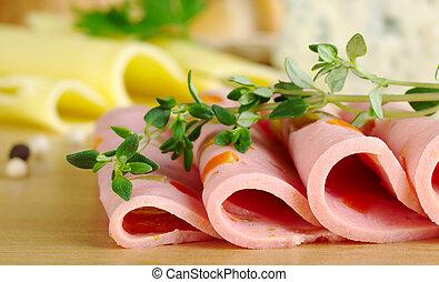kaas, knippen, thyme), tijm, schijfen, van hout top, fooi, brandpunt, (selective, brandpunt, plank, achtergrond, voorkant, koude