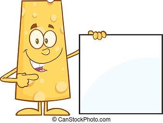 kaas, richtend aan, een, leeg teken