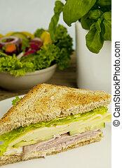 kaas sandwich, ham, club, smakelijk, fris, tafel