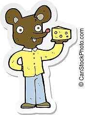 kaas, sticker, muis, spotprent, vasthouden
