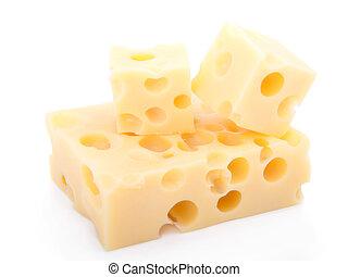 kaas, vrijstaand, stukken, achtergrond, zwitsers, witte