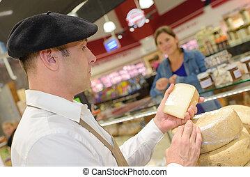 kaas, vrouw, aankoop