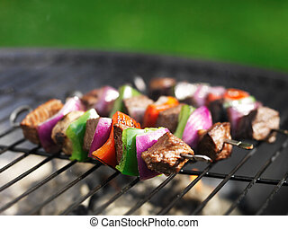 kababs, griglia, bistecca, cottura