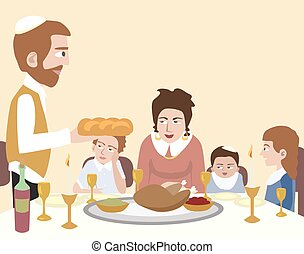 Kabbalat Shabbat, family dinner - vector cartoon...