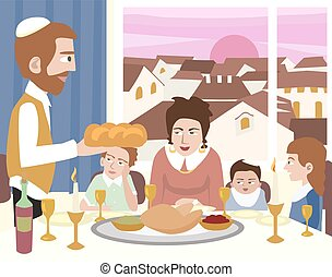 Kabbalat Shabbat, family night meal, colorful vector cartoon...