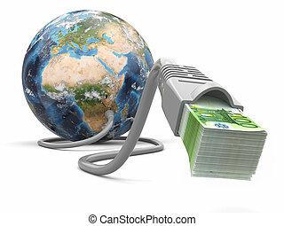kabel, geld, machen, geld., internet, erde, online., concept., 3d