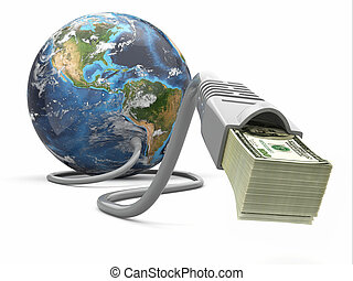 kabel, geld, machen, geld., internet, erde, online., concept.