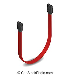 kabel, illustration., verbinder, sata, vektor, rotes , 3d