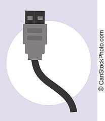kabel, vektor, usb, abbildung
