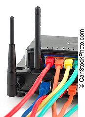kabel, verbunden, router