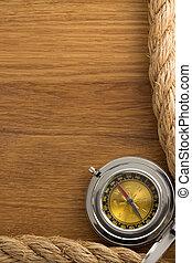 kabels, hout, oud, scheeps , kompas
