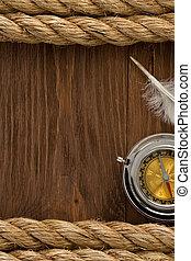 kabels, hout, scheeps , kompas
