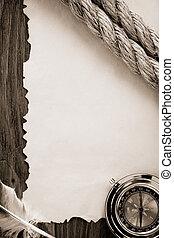 kabels, papier, oud, kompas