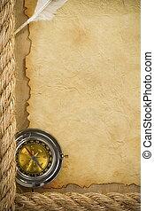 kabels, perkament, scheeps , kompas