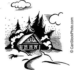 kabine, in, der, wälder