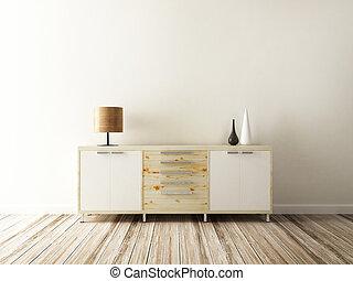 kabinet, en, accessoire, van, interieur, verfraaide
