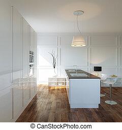 kabinett, luxuös, färsk, kök