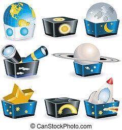 kabiny, astronomia, -, zbiór
