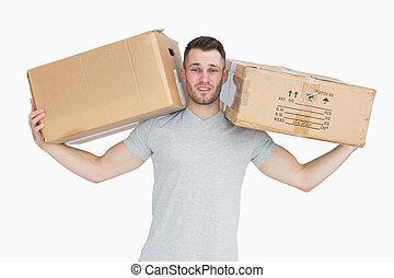 kabiny, portret, transport, człowiek, pakunek, zmęczony, młody