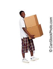 kabiny, transport, samczyk młody, afrykańska-amerikanka