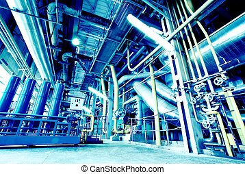 kablar, insida, utrustning, nymodig, grunda, industriell, driva, lägg i rör, växt
